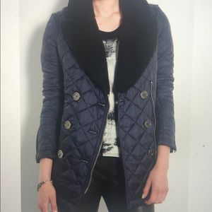 Like New- Burberry Brit Quilted Pea Jacket